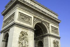 Arc de Triomphe in Paris on an autumn day in France.  Royalty Free Stock Images