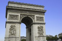 Arc de Triomphe in Paris on an autumn day in France.  Royalty Free Stock Photo