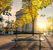 Arc de Triomphe in Paris autumn. Arc de Triomphe in Paris at the sunset Royalty Free Stock Images