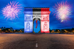 Arc de Triomphe Paris and Champs Elysees in France. Arc de Triomphe Paris and Champs Elysees with New year firewoks at Paris, France Stock Photos