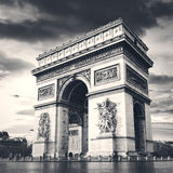 Arc de triomphe Paris city. Arch of Triumph and Champs Elysees Stock Photos