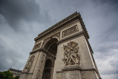 Arc de triomphe Paris city. The arc de triomphe in paris at a cloudy day Royalty Free Stock Photography