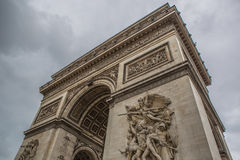 Arc de triomphe Paris city. The arc de triomphe in paris at a cloudy day Stock Images