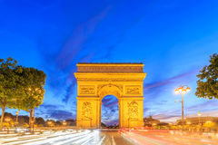 Arc de Triomphe Paris city at night Stock Images