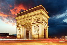 Arc de triomphe Paris city at sunset.  Stock Photos