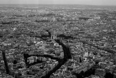 Aerial View Arch du Triomphe Cityscape. Cityscape view from atop Eiffel Tower with Arc du Triomphe in center and boulevards fanning outward Stock Images