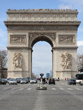 Arc de Triomphe in Paris. Close road view of The Arc de Triomphe (Triumphal arch), at the western end of the Champs-Élysées (Elysian Fields), Paris, France Royalty Free Stock Photos