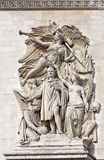 Arc de Triomphe Paris detalj Arkivbilder