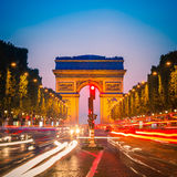 Arc de Triomphe, Paris. Arc de Triomphe at dusk, Paris Stock Photo
