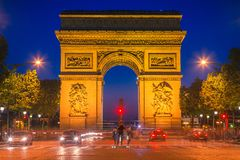 Arc de Triomphe, Paris. Arc de Triomphe at dusk, Paris Royalty Free Stock Photo