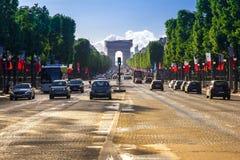 Arc de Triomphe Paris eftermiddag Royaltyfria Foton