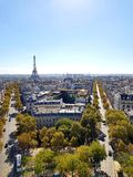 Arc de triomphe Paris Eiffel tower street sky stock photo