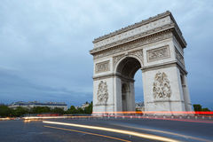 Arc de Triomphe in Paris in the evening. France Stock Photos