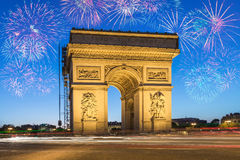 Arc de Triomphe Paris. With Fireworks France Royalty Free Stock Photos