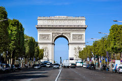Arc de Triomphe, Paris, France. View from Avenue des Champs-Elysees Stock Photos