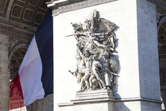 Detail from Arc de Triomphe in Charles De Gaulle Royalty Free Stock Photography