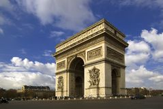 Arc de Triomphe, Paris, France. Arc de Triomphe taken in Spring with sunshine and blue skies Royalty Free Stock Images
