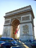 Arc De Triomphe, Paris, France. The amazing carved architecture of Paris` Arc De Triomphe, backed by the perfectly blue sky Royalty Free Stock Photography