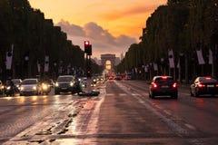 Arc de triomphe, Paris, France. Arc de Triomphe and champ Elysees at sunset, Paris, France Royalty Free Stock Photo