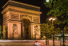 Arc de Triomphe in Paris, France. Night scene Stock Image