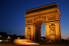 Arc De Triomphe, Paris France. Arc De Triomphe in Paris France at dusk Royalty Free Stock Photo