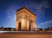 Arc De Triomphe, Paris. France with fireworks Stock Image