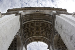 The arc de triomphe in paris, france. Fisheye shot of the arc de triomphe in paris, france Stock Photography
