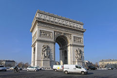 Arc de Triomphe Paris. PARIS, FRANCE - JANUARY 07: Arc de Triomphe in Paris on JANUARY 07, 2010. Triumphal Arch Monument for French Revolutionary and the Royalty Free Stock Photo