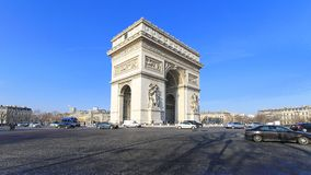 Arc de Triomphe. PARIS, FRANCE - JANUARY 7: Arc de Triomphe on JANUARY 7, 2010. Triumphal Arch monument for French Revolutionary and the Napoleonic Wars in Paris Royalty Free Stock Photography