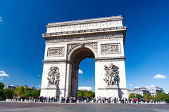 Arc de triomphe - Paris - France. The Arc de Triomphe de l`Étoile , Triumphal Arch of the Star is one of the most famous monuments in Paris. It stands in the Stock Images