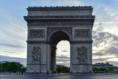 Arc de Triomphe - Paris, France. The Arc de Triomphe de l& x27;Etoile, & x28;Triumphal Arch of the Star& x29; is one of the most famous monuments in Paris Royalty Free Stock Photo