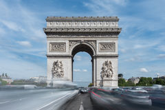 Arc de Triomphe - Paris, France. The Arc de Triomphe de l& x27;Etoile, & x28;Triumphal Arch of the Star& x29; is one of the most famous monuments in Paris Royalty Free Stock Photos