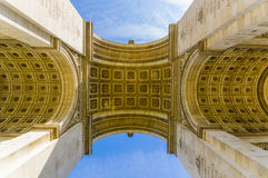 Arc de Triomphe, Paris, France. Arc de Triomphe de l'Etoile, Triumphal Arc of the Star, Paris, France. Low angle shot Stock Photos