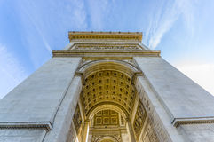 Arc de Triomphe, Paris, France. Arc de Triomphe de l'Etoile, Triumphal Arc of the Star, Paris, France. Low angle shot Royalty Free Stock Photos