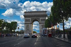 Arc de Triomphe, Paris, France. The Arc de Triomphe is located at the beginning of the famous Avenue des Champs-Élysées, in the middle of the Place de l`É Stock Photo