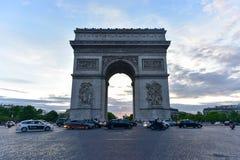 Arc de Triomphe - Paris, France. Paris, France - May 15 2017: Traffic around the The Arc de Triomphe de l& x27;Etoile, & x28;Triumphal Arch of the Star& x29; in Royalty Free Stock Images