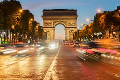 Arc de triomphe, Paris, France. Arc de Triomphe at night, Paris, France Royalty Free Stock Image