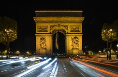 Arc de Triomphe in Paris, France. Night scene Royalty Free Stock Photo
