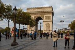 Arc de Triomphe, Paris, France. Paris, France - October 28, 2017: Arc de Triomphe, Paris, France. View from Avenue des Champs-Elysees Stock Photos