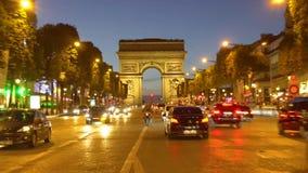 Arc de triomphe, Paris, France. PARIS, FRANCE - OCTOBER 06, 2017: different car driving in front of Arc de Triomphe at night, Paris, France stock footage