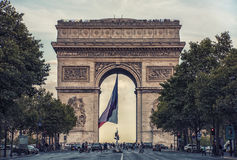 Arc de Triomphe in Paris, France. 25 September 2016 in Paris, View of the Arch of Triumph from the street Royalty Free Stock Photography