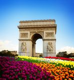 Arc de triomphe, Paris, France. Arc de triomphe at spring day, Paris, France, retro toned Royalty Free Stock Image