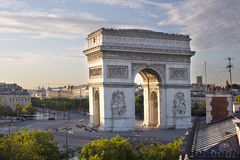The arc de triomphe in paris, france. At sunrise from a unique vantage point Royalty Free Stock Photo