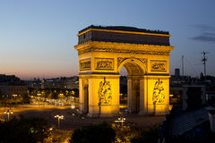 The arc de triomphe in paris, france. At sunset Royalty Free Stock Photography
