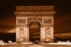Arc de Triomphe, Paris, France. View from Avenue des Champs-Elysees. Vintage retro style, monochrome Stock Image