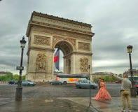 Arc de triomphe, Paris France. View of the napoleon arc de triomphe of paris champs elysée Stock Images