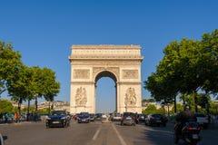 Arc de Triomphe in Paris , France. View of triumph arch under the blue sky Stock Photos