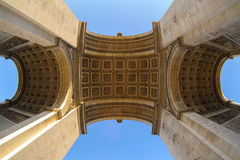 Arc de Triomphe in Paris , France. View of triumph arch under the blue sky Royalty Free Stock Photography