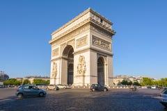 Arc de Triomphe in Paris , France. View of triumph arch under the blue sky Stock Image