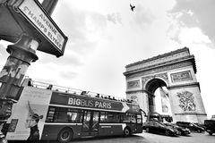 Arc de Triomphe, Paris. With French flag Stock Photography